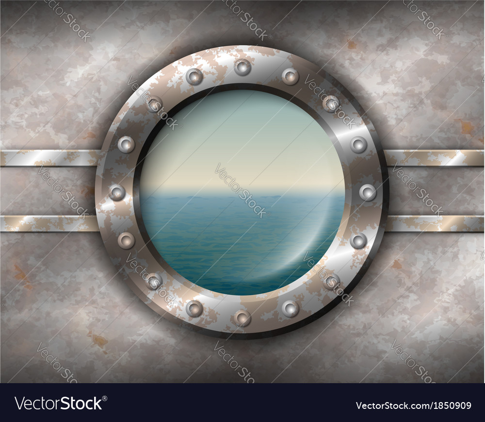 Rusty porthole with seascape vector | Price: 1 Credit (USD $1)