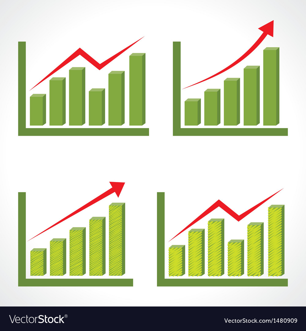 Set of different business graph with rising arrow vector | Price: 1 Credit (USD $1)