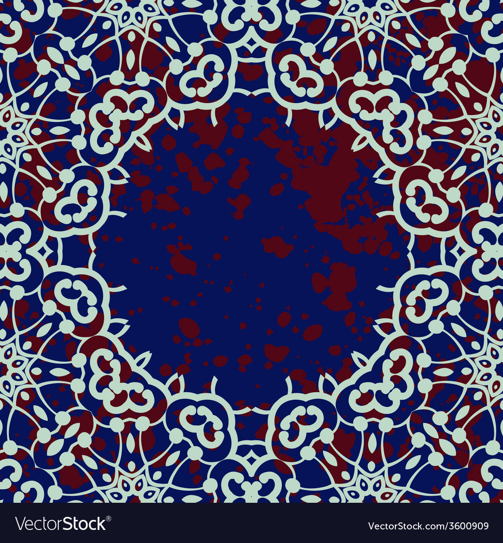 Stylized islamic ornamental frame over deep blue vector | Price: 1 Credit (USD $1)