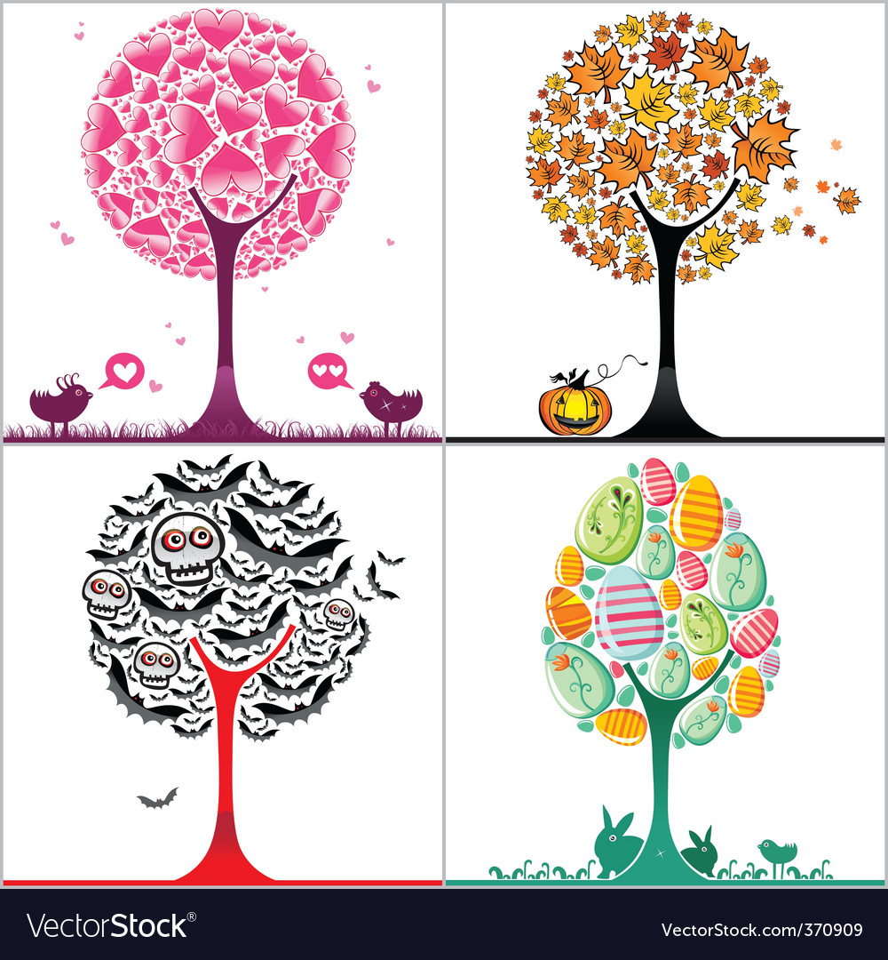 Trees set vector | Price: 1 Credit (USD $1)