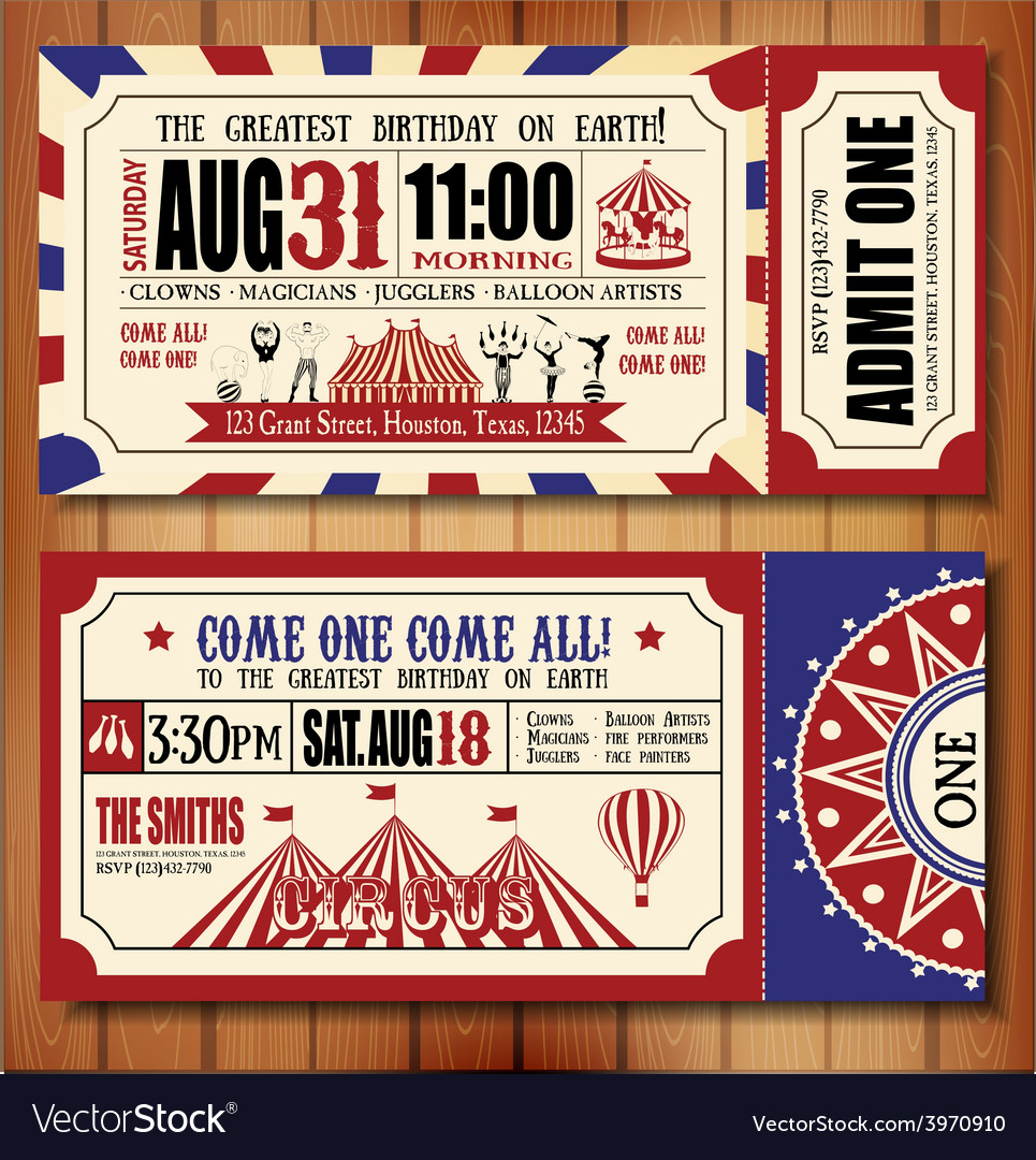 Birthday card with circus ticket vector | Price: 1 Credit (USD $1)