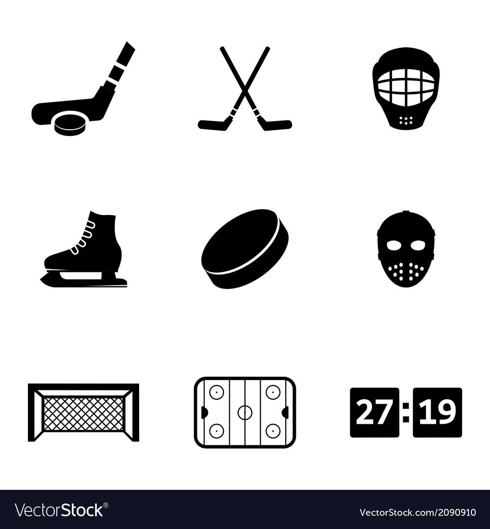 Black hockey icons set vector | Price: 1 Credit (USD $1)
