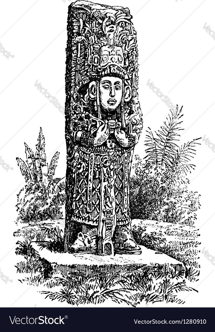 Copan monolith vintage engraving vector   Price: 1 Credit (USD $1)