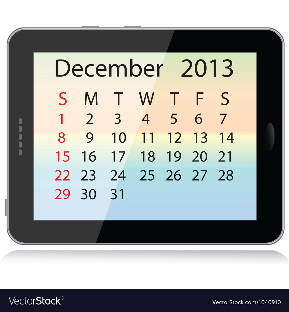 December 2013 calendar vector | Price: 1 Credit (USD $1)