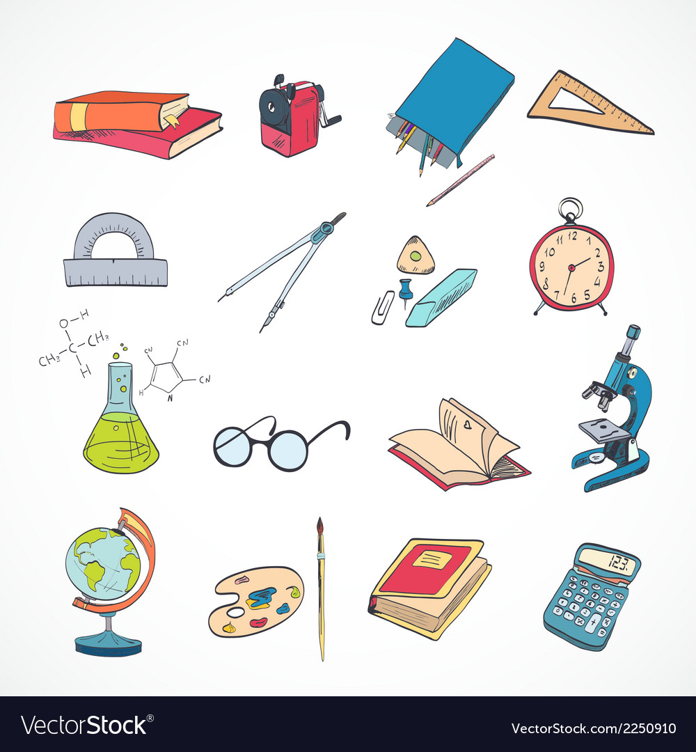 Education icon doodle color vector | Price: 1 Credit (USD $1)