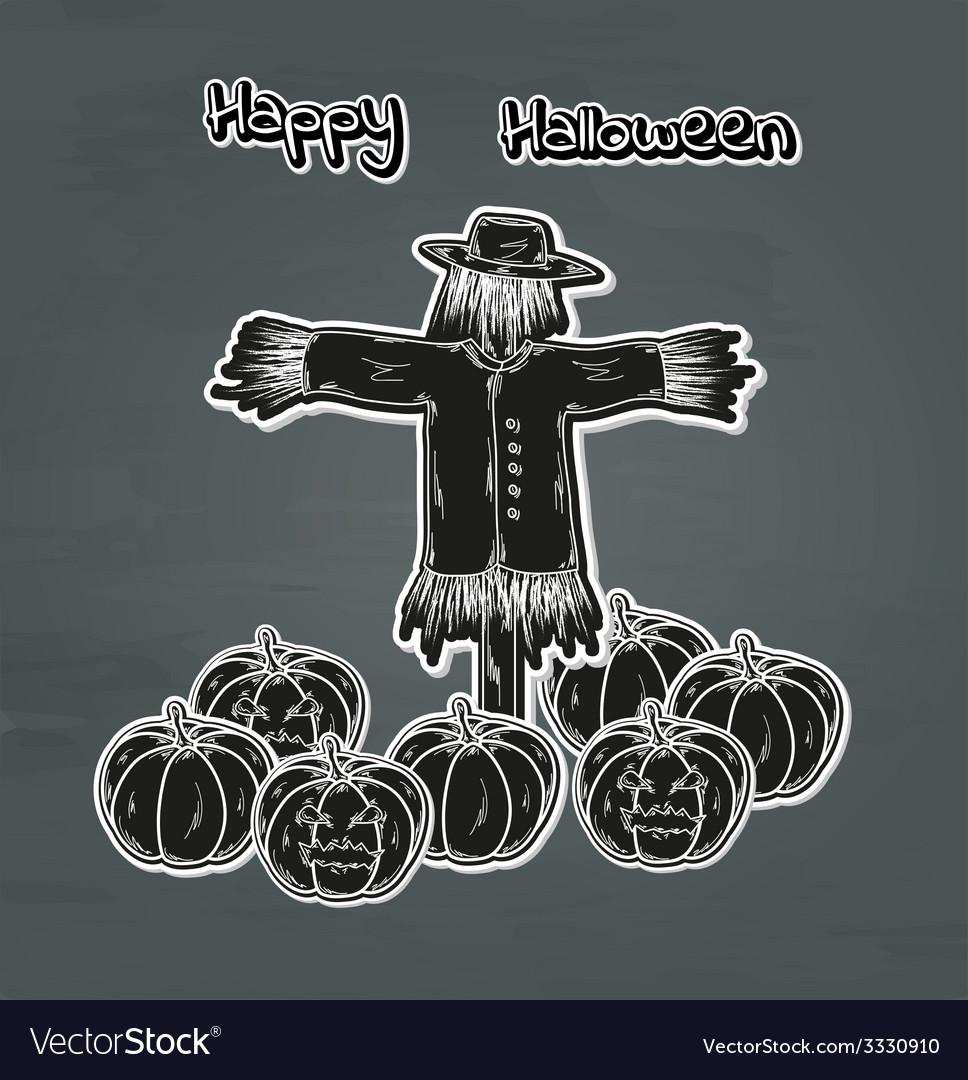 Halloween pumpkin and scarecrow vector | Price: 1 Credit (USD $1)