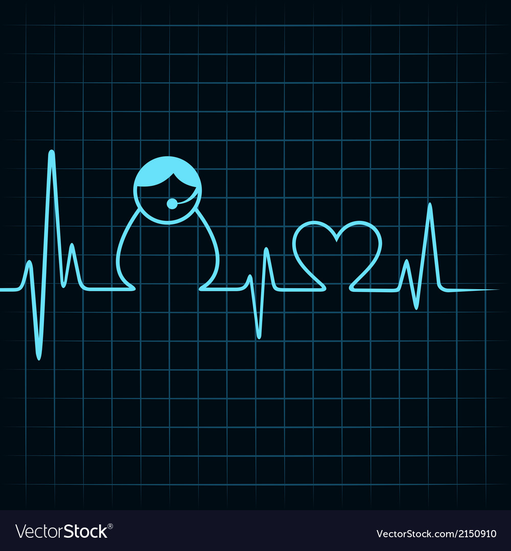 Heartbeat make a contact us icon and heart symbol vector | Price: 1 Credit (USD $1)