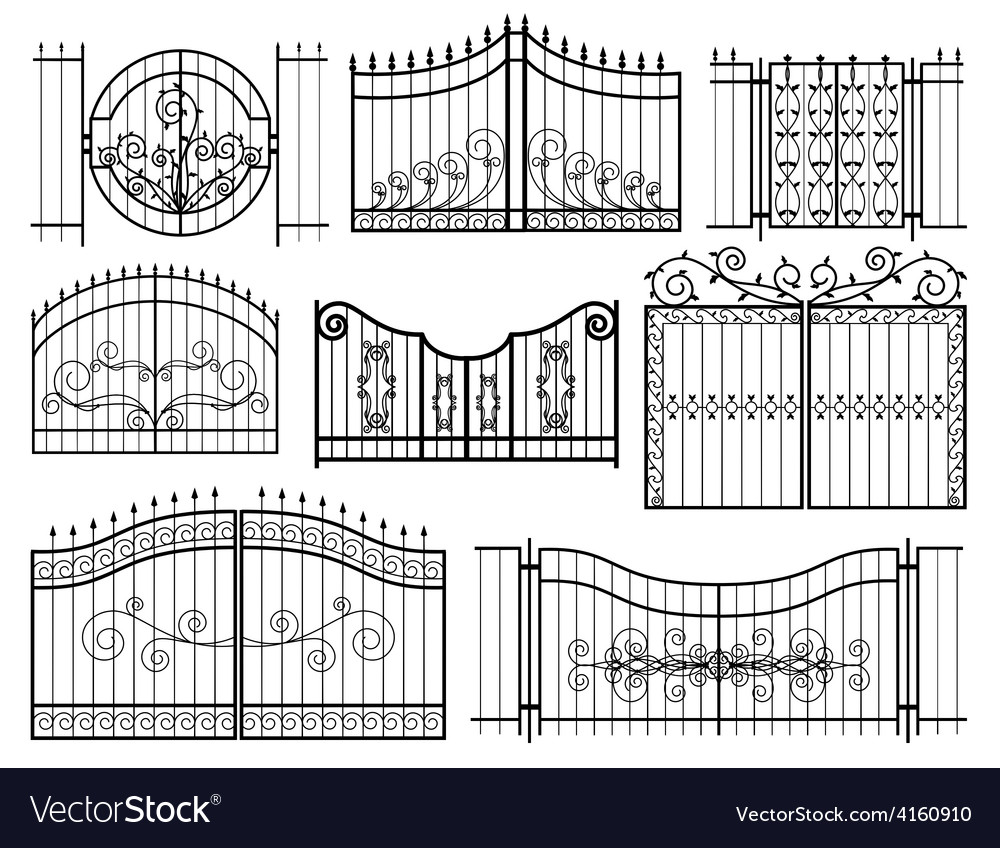 Iron gates icons vector | Price: 1 Credit (USD $1)