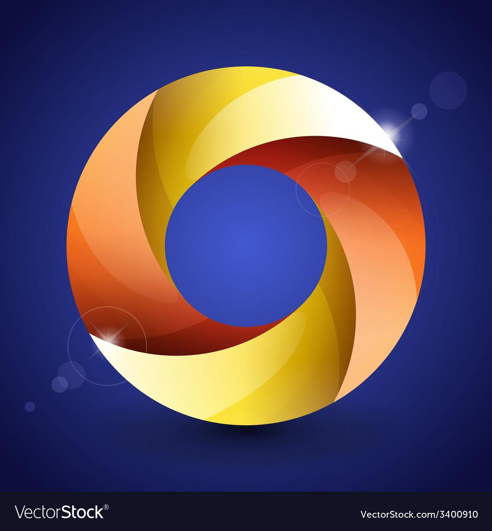 Moebius origami red orange and yellow paper circle vector | Price: 1 Credit (USD $1)