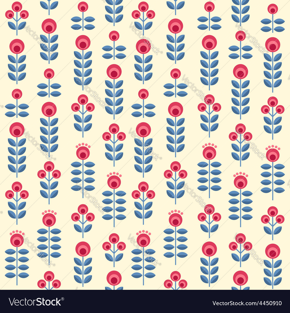 Scandinavian flowers seamless pattern vector | Price: 1 Credit (USD $1)