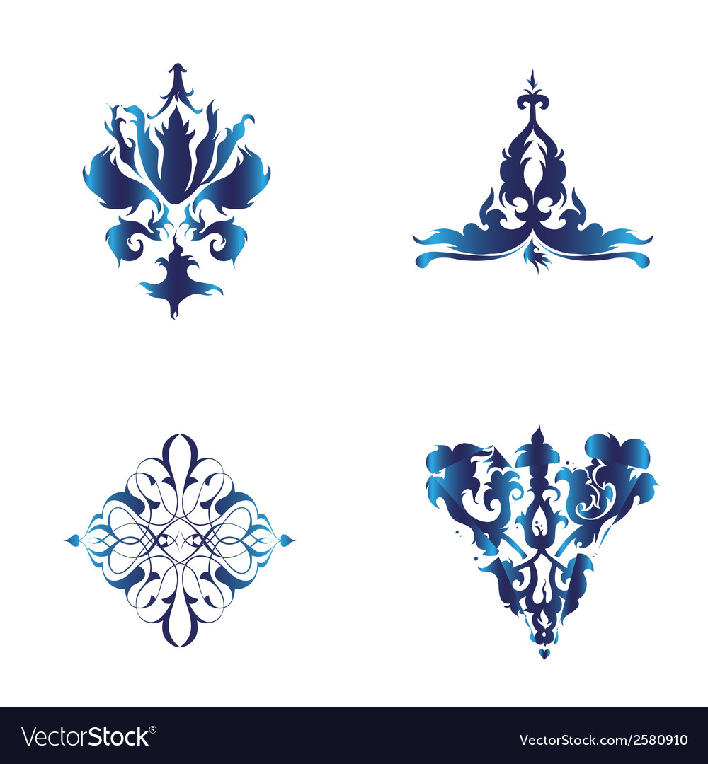 Set of damask ornamental elements blue ele vector | Price: 1 Credit (USD $1)