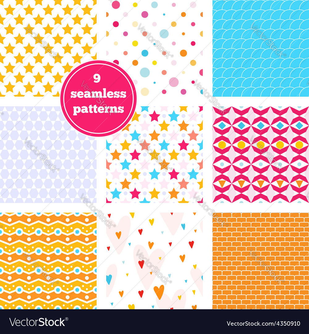 Set of nine rainbow seamless patterns vector | Price: 1 Credit (USD $1)