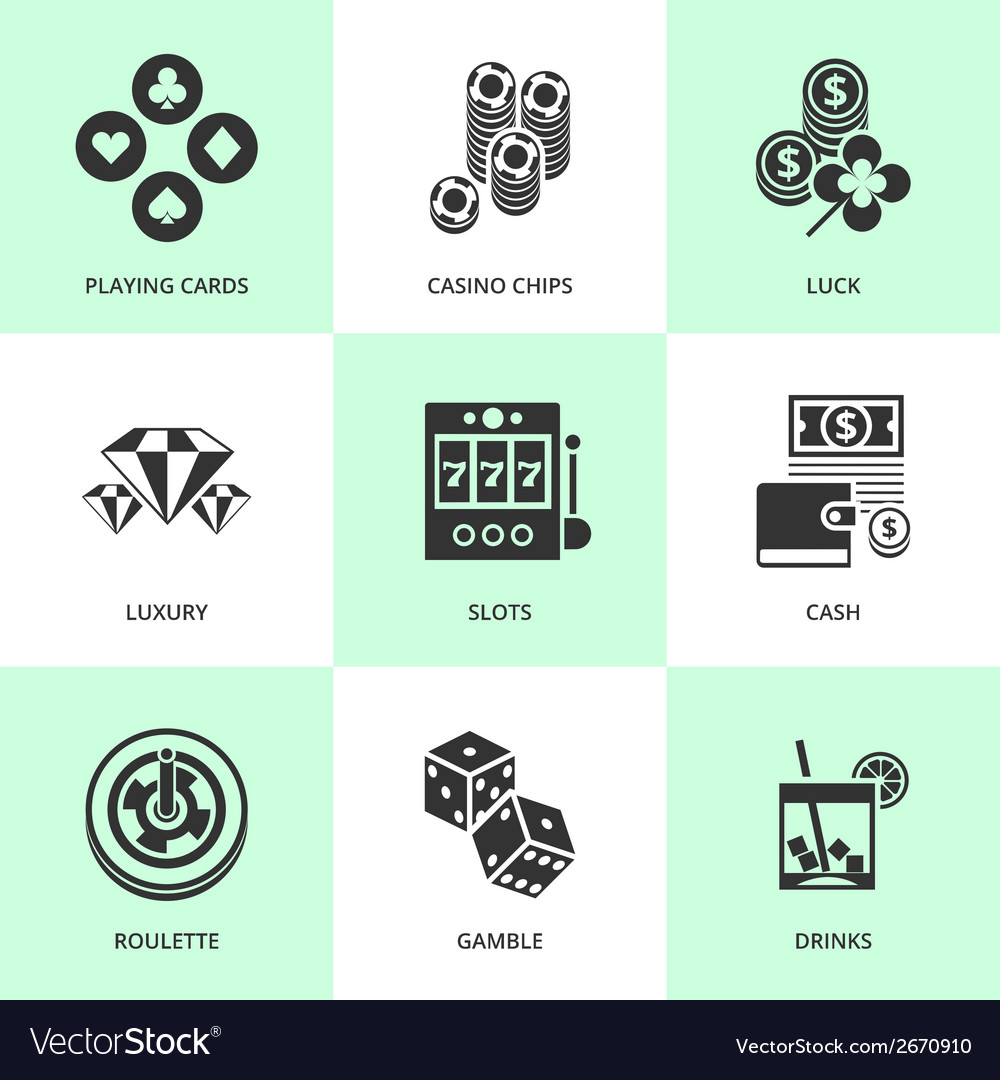 Set of white casino icons vector | Price: 1 Credit (USD $1)