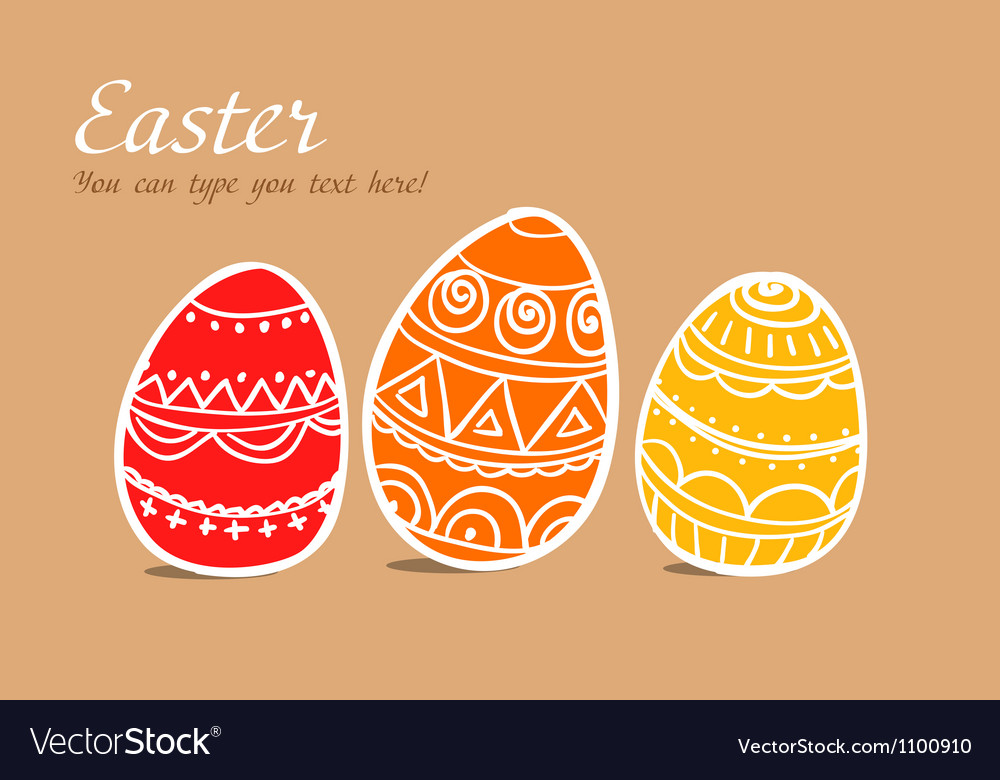 Three easter painted eggs on brown vector | Price: 1 Credit (USD $1)