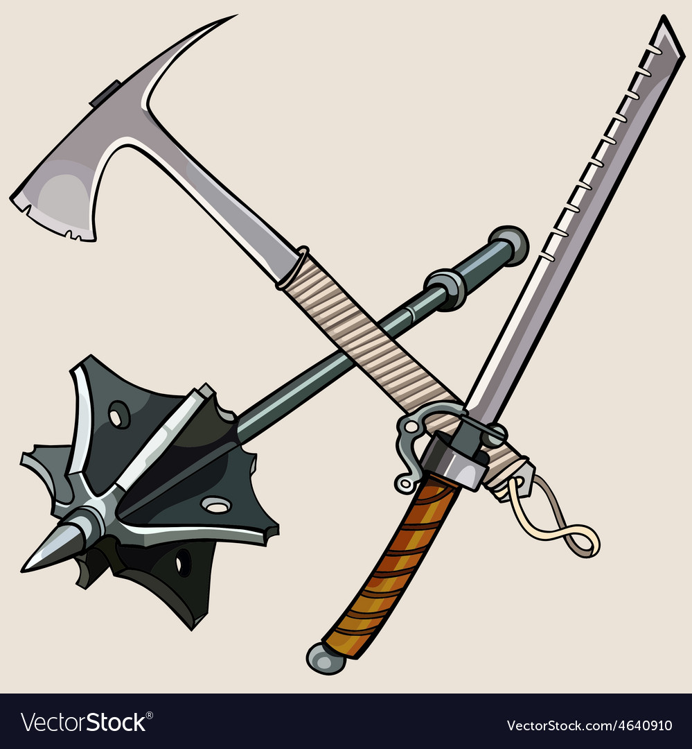 Weapon against the zombies ax sword mace vector | Price: 3 Credit (USD $3)