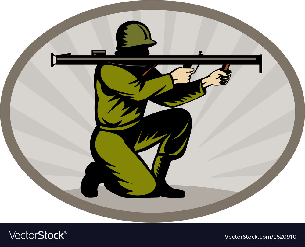 World war two soldier aiming bazooka side vector | Price: 1 Credit (USD $1)
