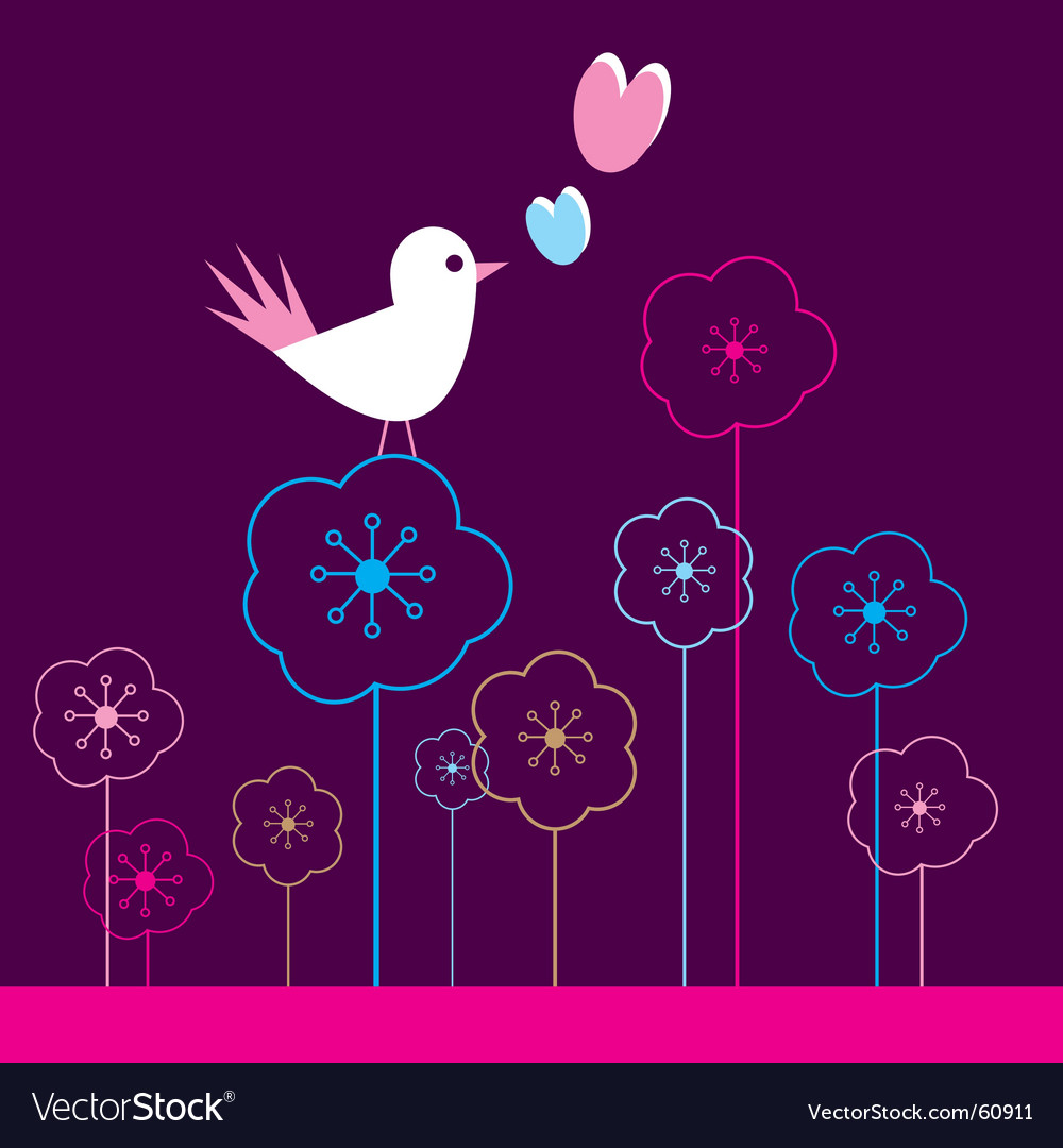Birds and flowers vector | Price: 1 Credit (USD $1)