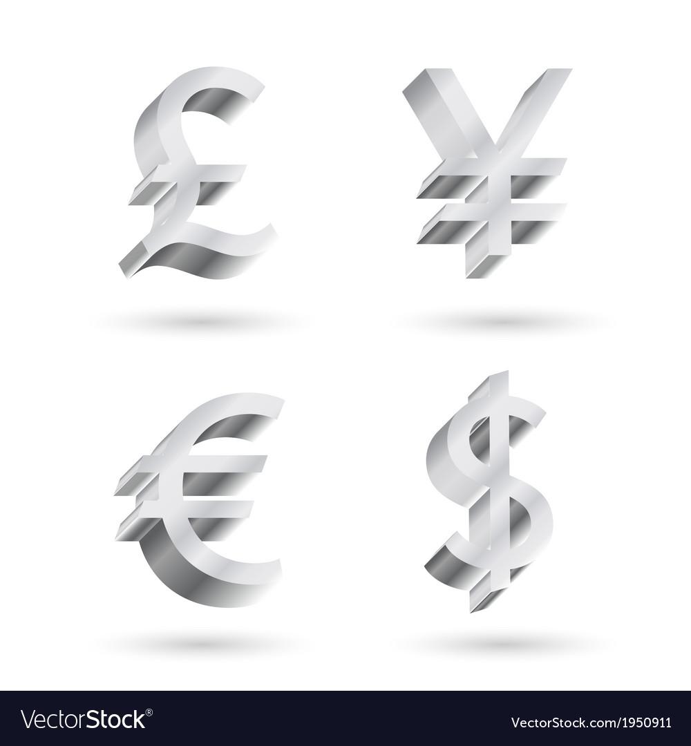 Currency silver symbols vector | Price: 1 Credit (USD $1)
