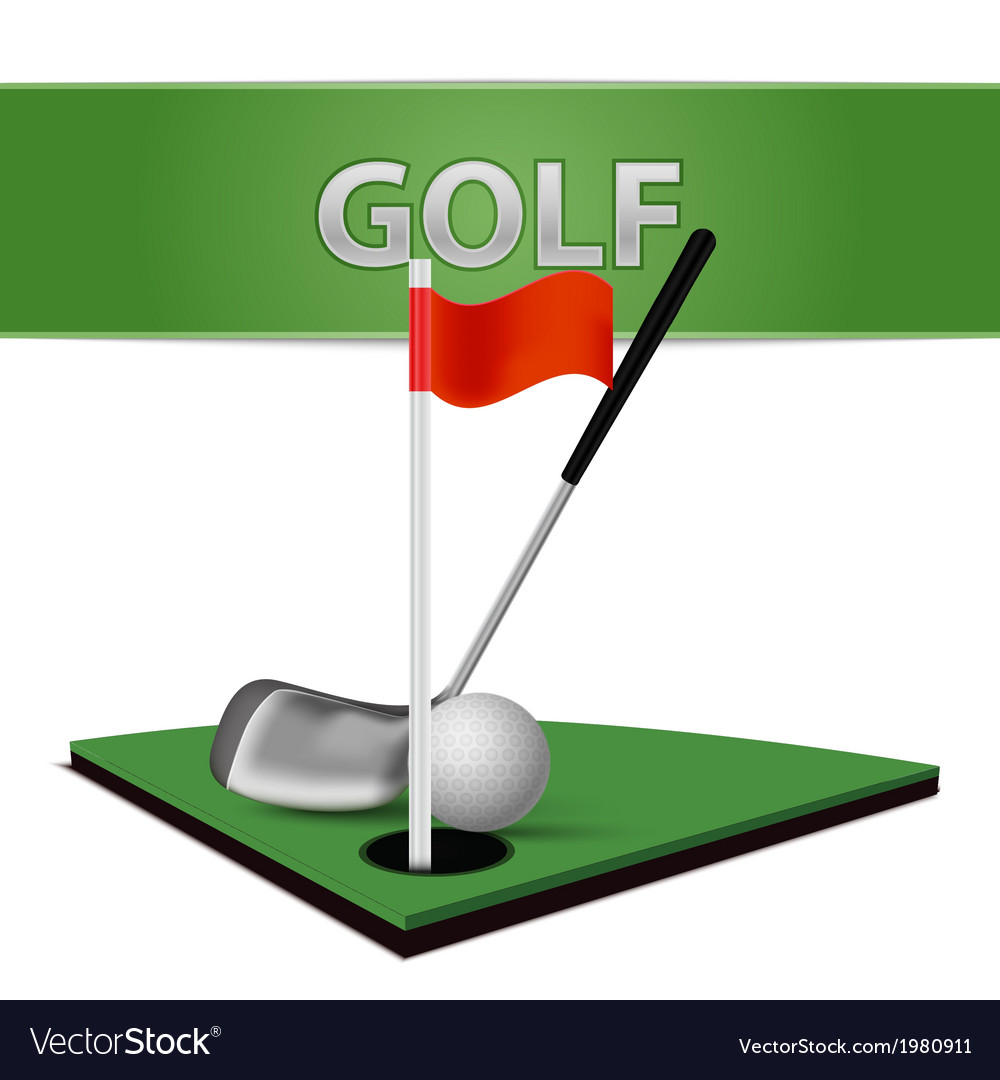 Golf ball club and green grass emblem vector | Price: 1 Credit (USD $1)