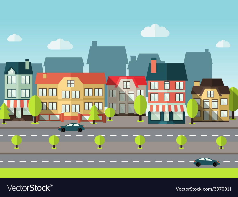 Landscape city background vector | Price: 1 Credit (USD $1)