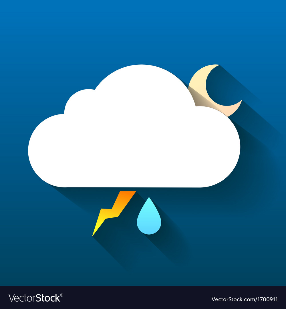 Night cloud moon lightning and rain drop isolated vector | Price: 1 Credit (USD $1)