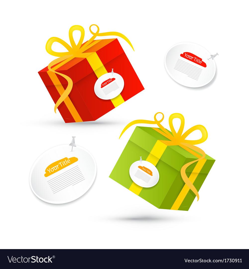 Red green present box gift box set vector | Price: 1 Credit (USD $1)