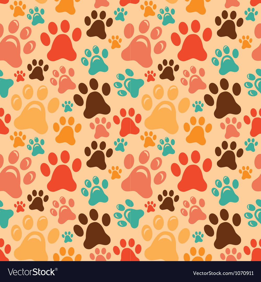 Seamless pattern with animal paws vector | Price: 1 Credit (USD $1)