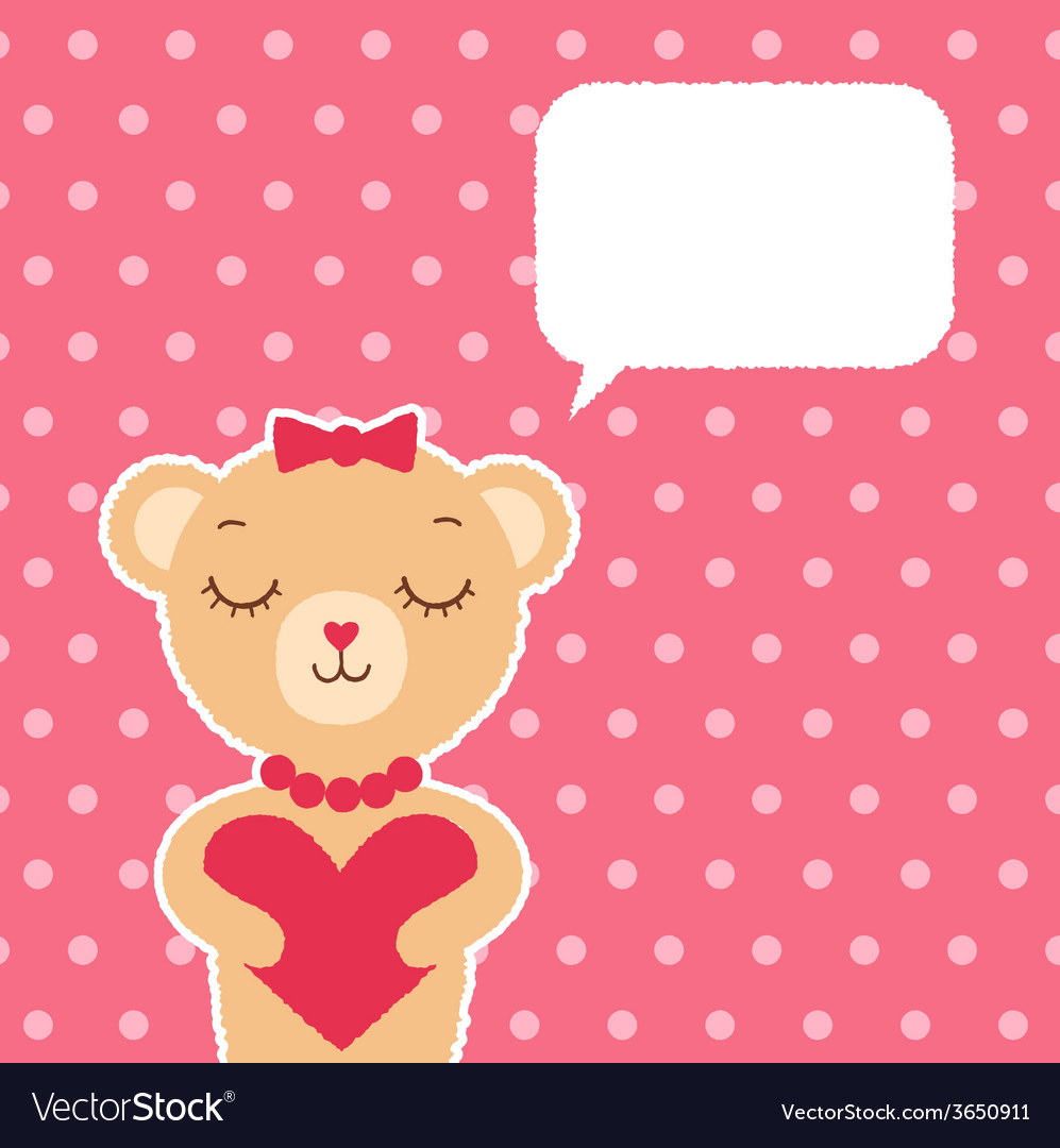 Valentines day card with bear girl vector | Price: 1 Credit (USD $1)