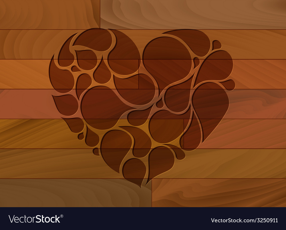Wooden heart background vector | Price: 1 Credit (USD $1)