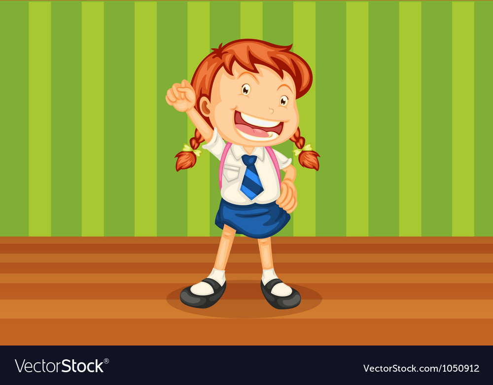A girl with schoolbag vector | Price: 1 Credit (USD $1)