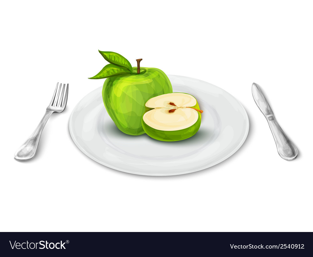 Apple on plate vector | Price: 1 Credit (USD $1)
