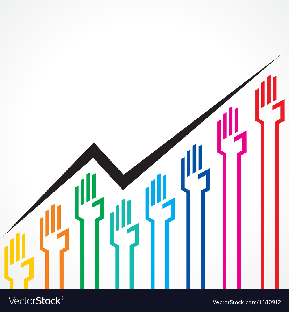 Business graph made by colorful hand icons vector | Price: 1 Credit (USD $1)