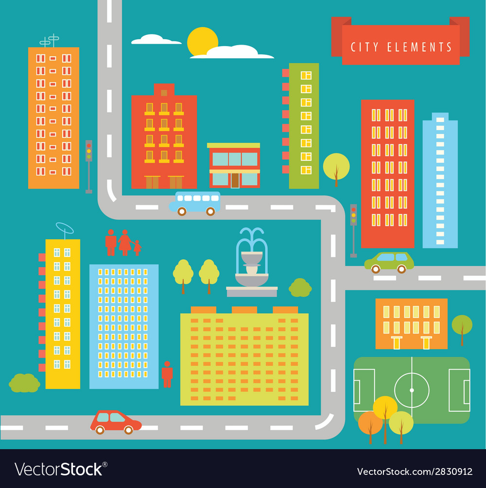City elements vector | Price: 1 Credit (USD $1)