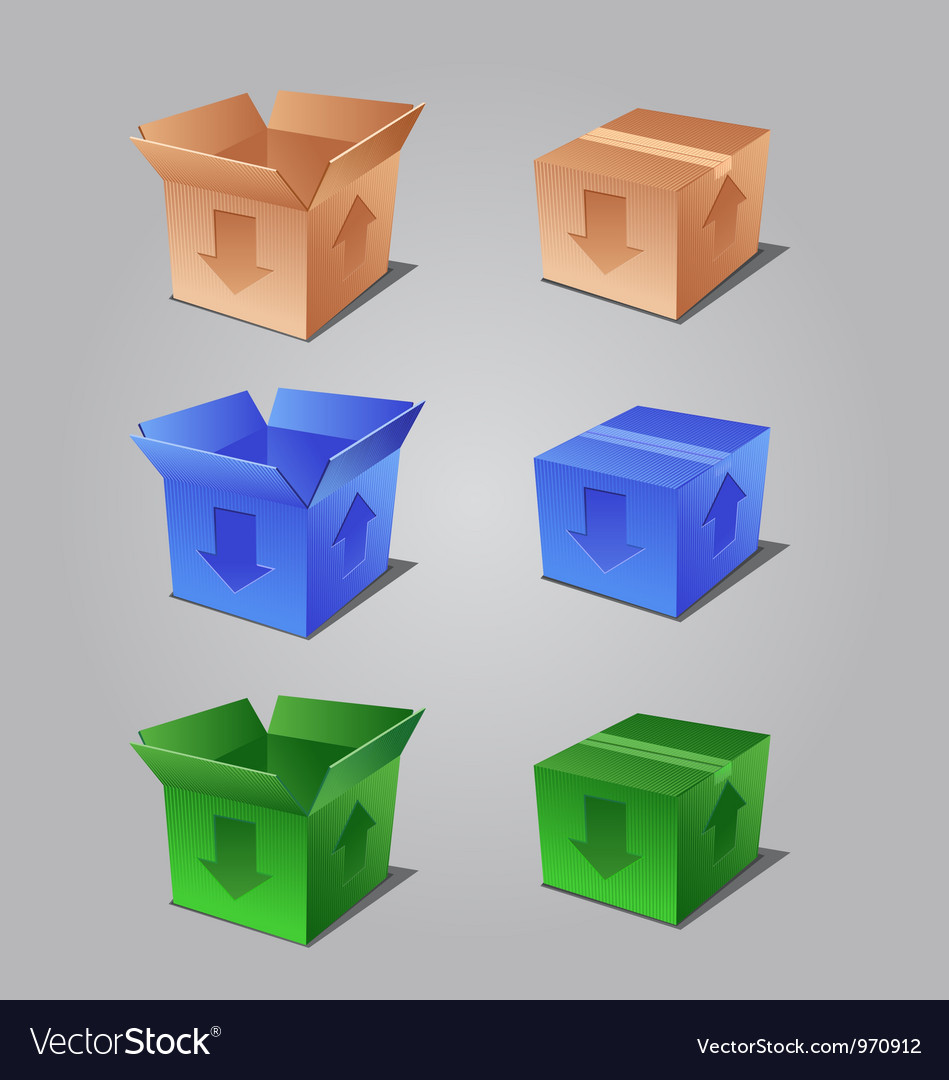 Colorful open and closed boxes vector | Price: 1 Credit (USD $1)