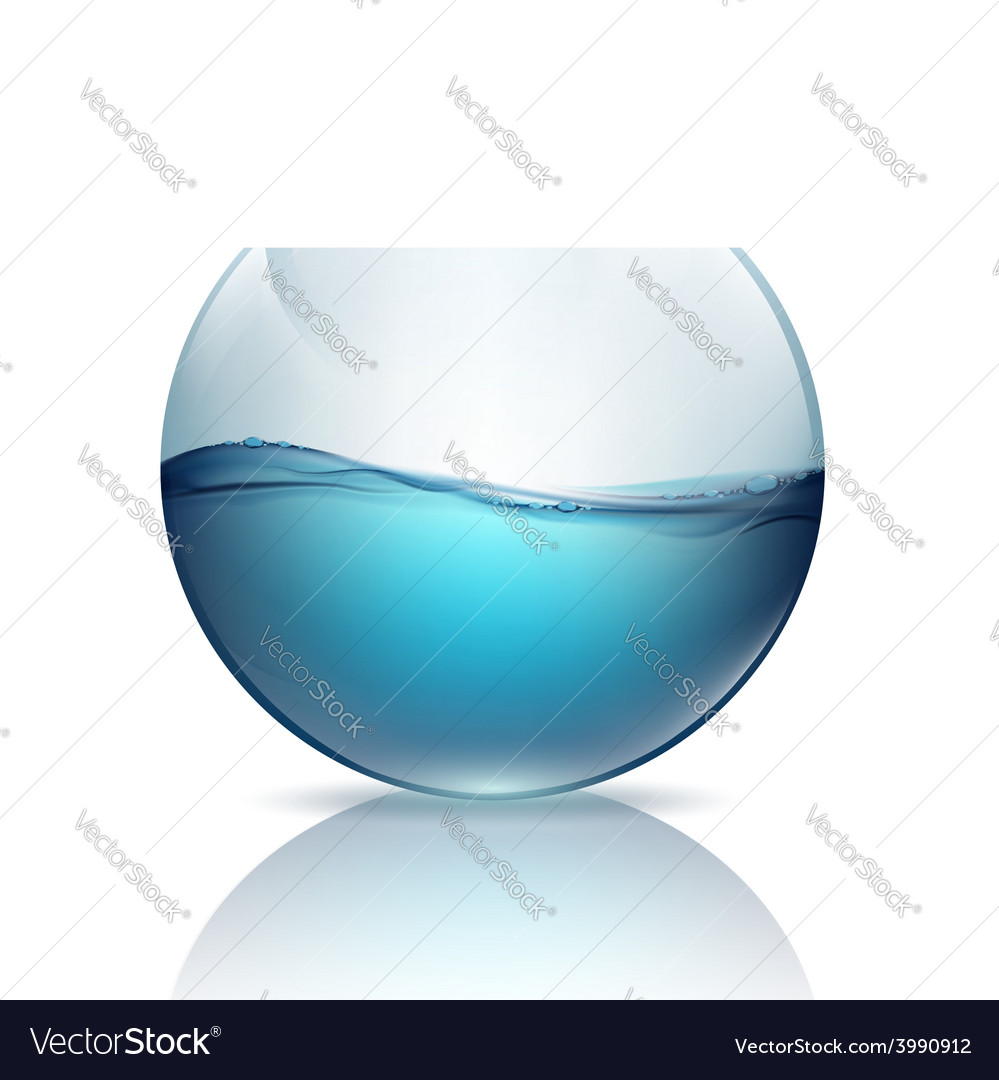 Fishbowl with water isolated on a white background vector | Price: 1 Credit (USD $1)