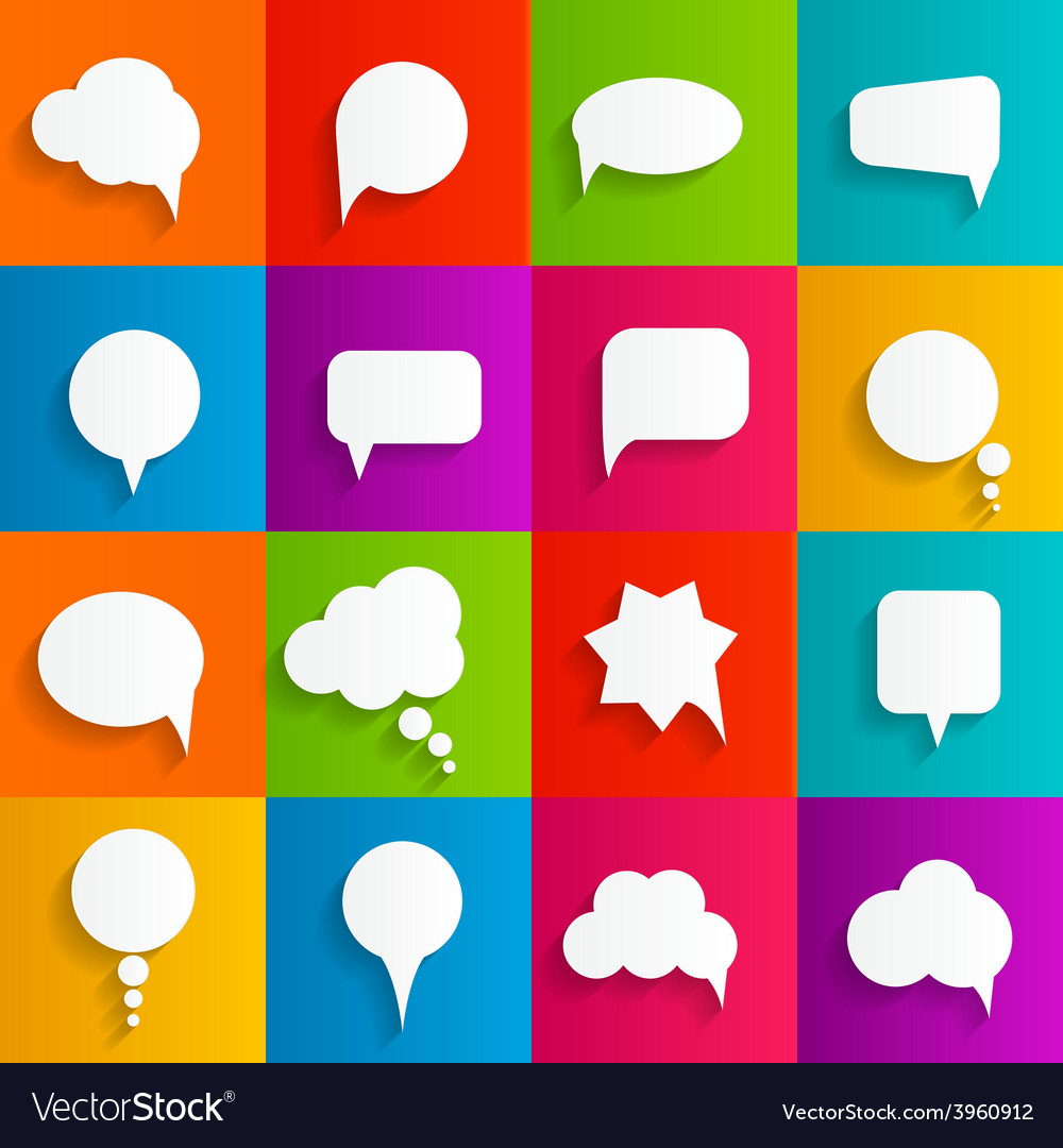 Flat speech bubbles with long shadows vector   Price: 1 Credit (USD $1)