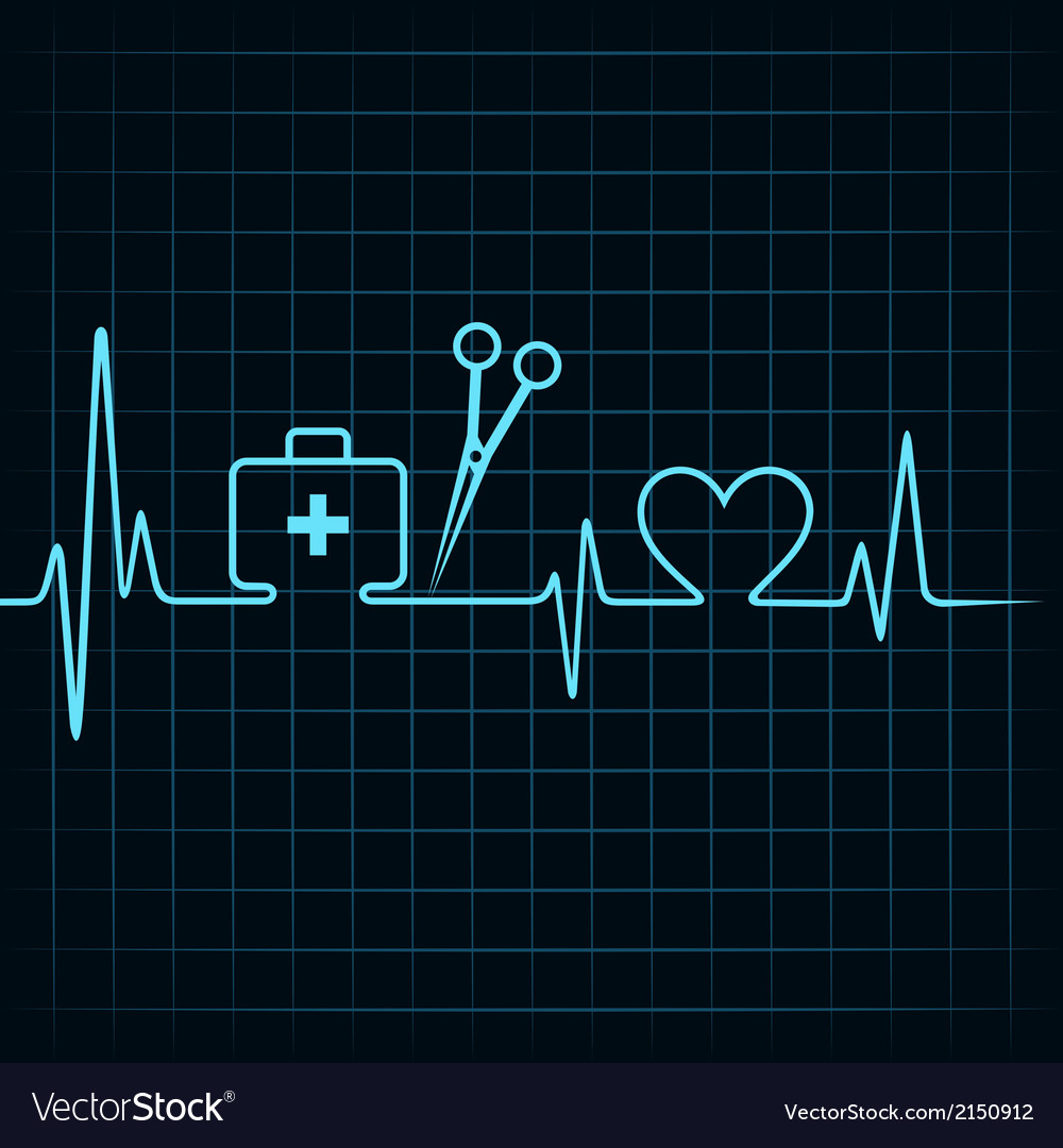 Heartbeat make a first aid boxscissor and heart vector | Price: 1 Credit (USD $1)