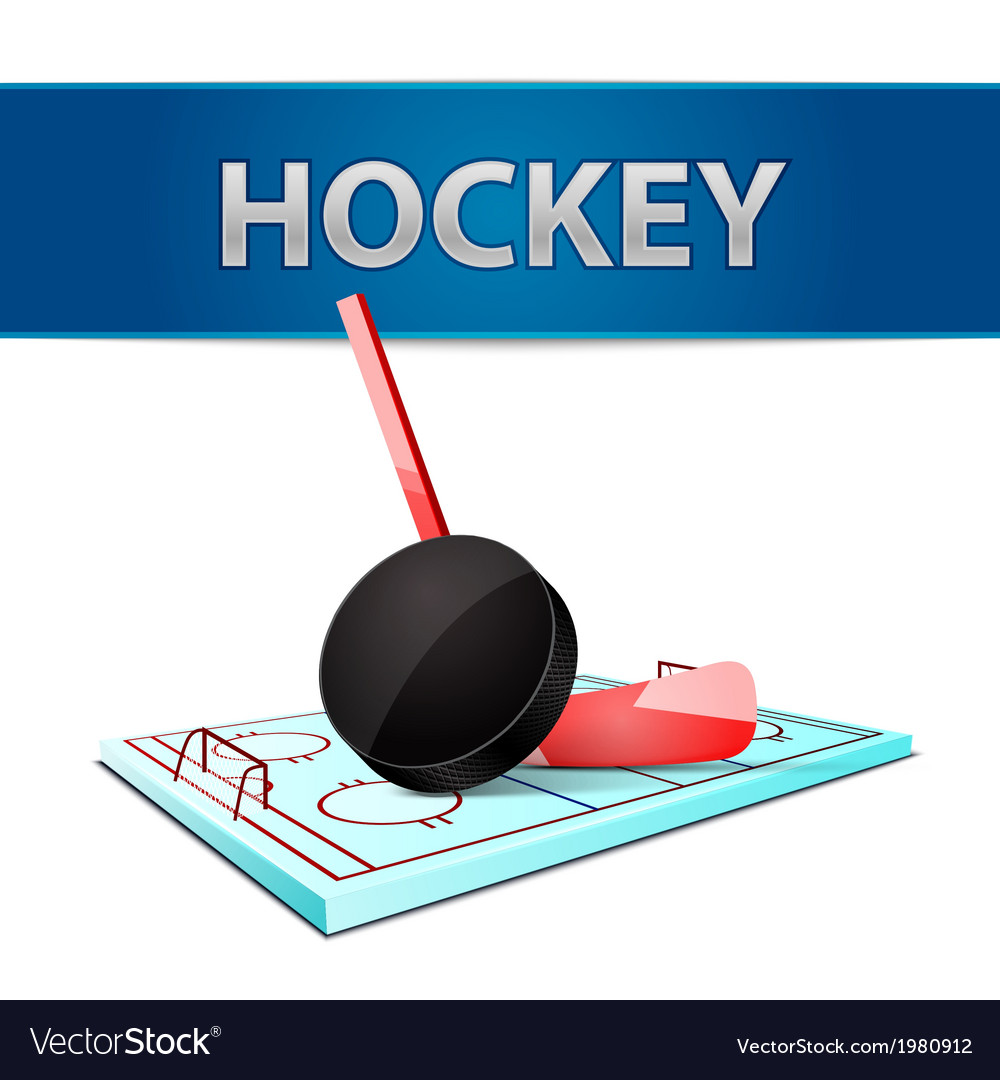 Hockey stick puck and ice arena emblem vector | Price: 1 Credit (USD $1)