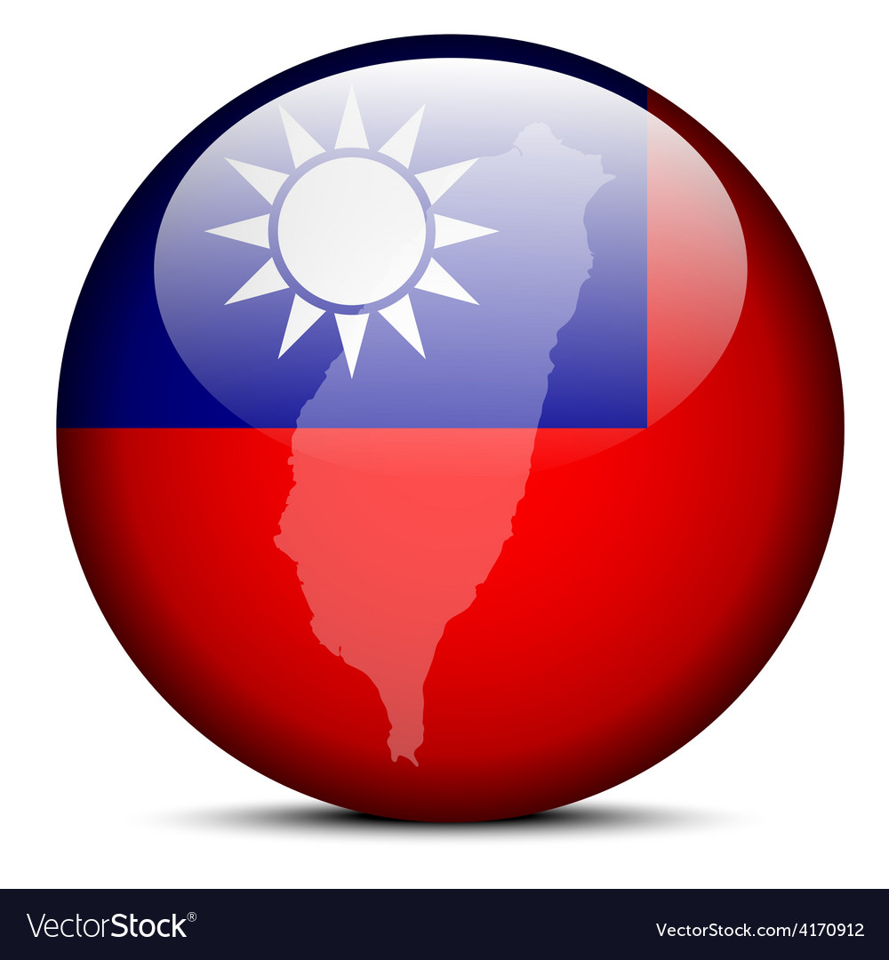 Map on flag button of republic china vector | Price: 1 Credit (USD $1)