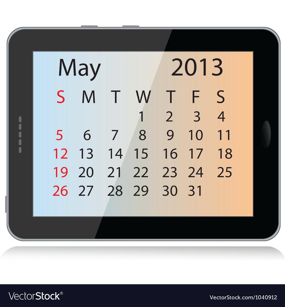 May 2013 calendar vector | Price: 1 Credit (USD $1)