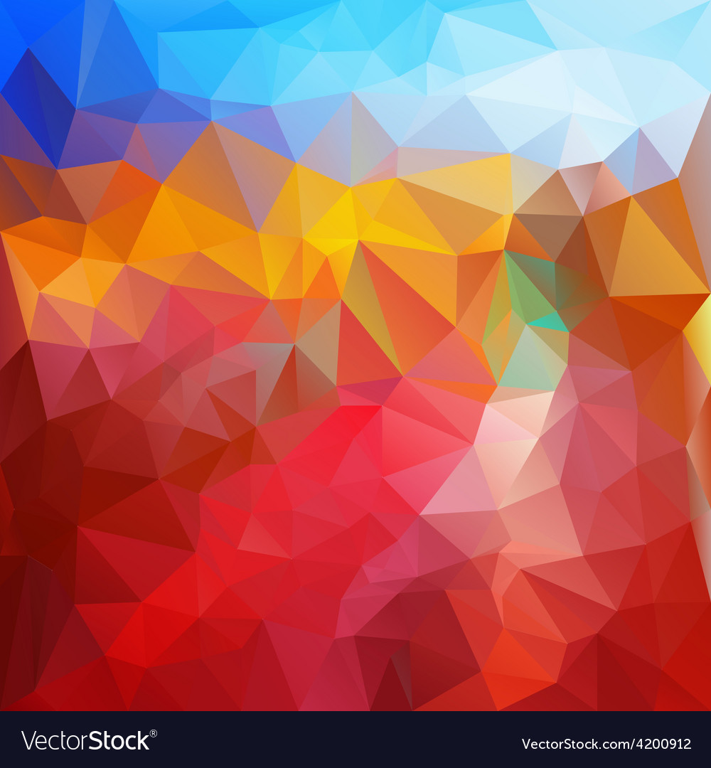 Red fire blue polygonal triangular pattern vector | Price: 1 Credit (USD $1)