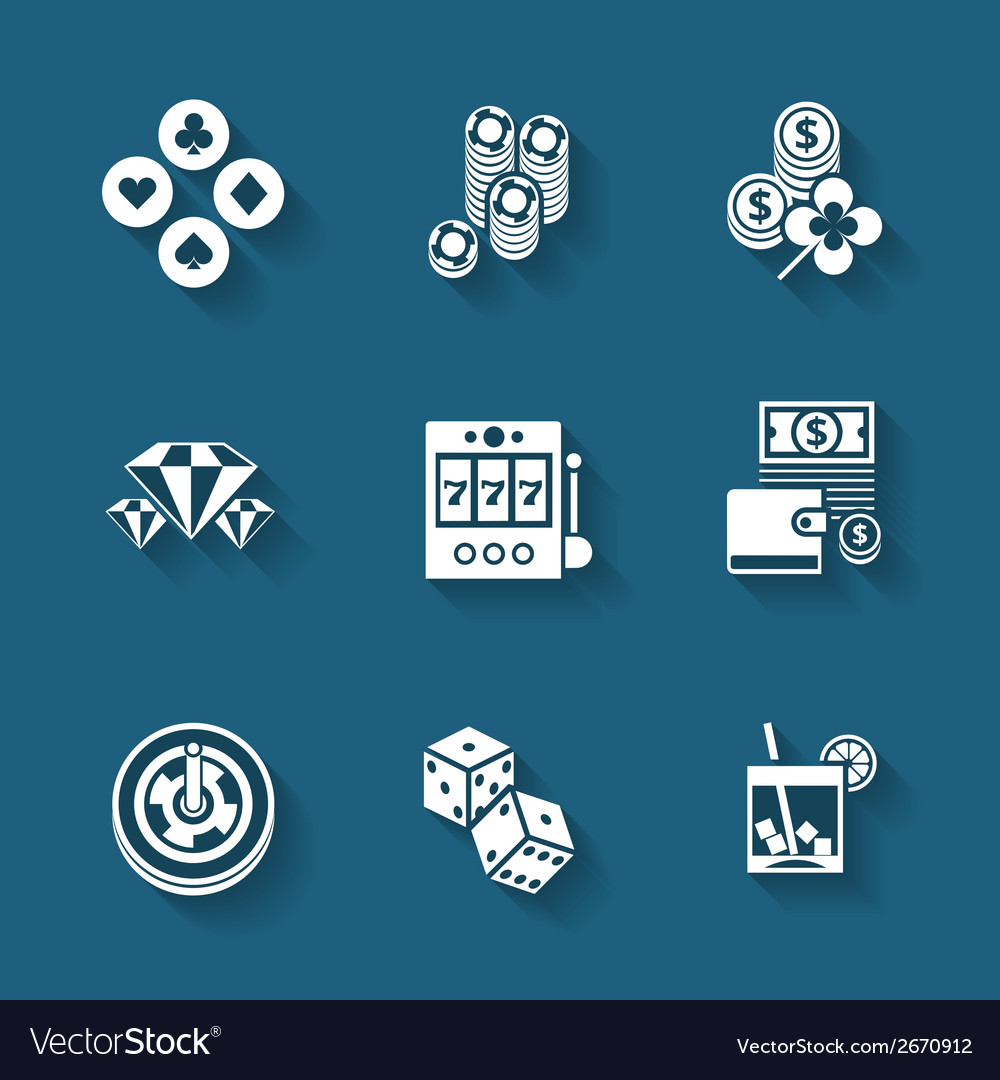 Set of black casino icons vector | Price: 1 Credit (USD $1)