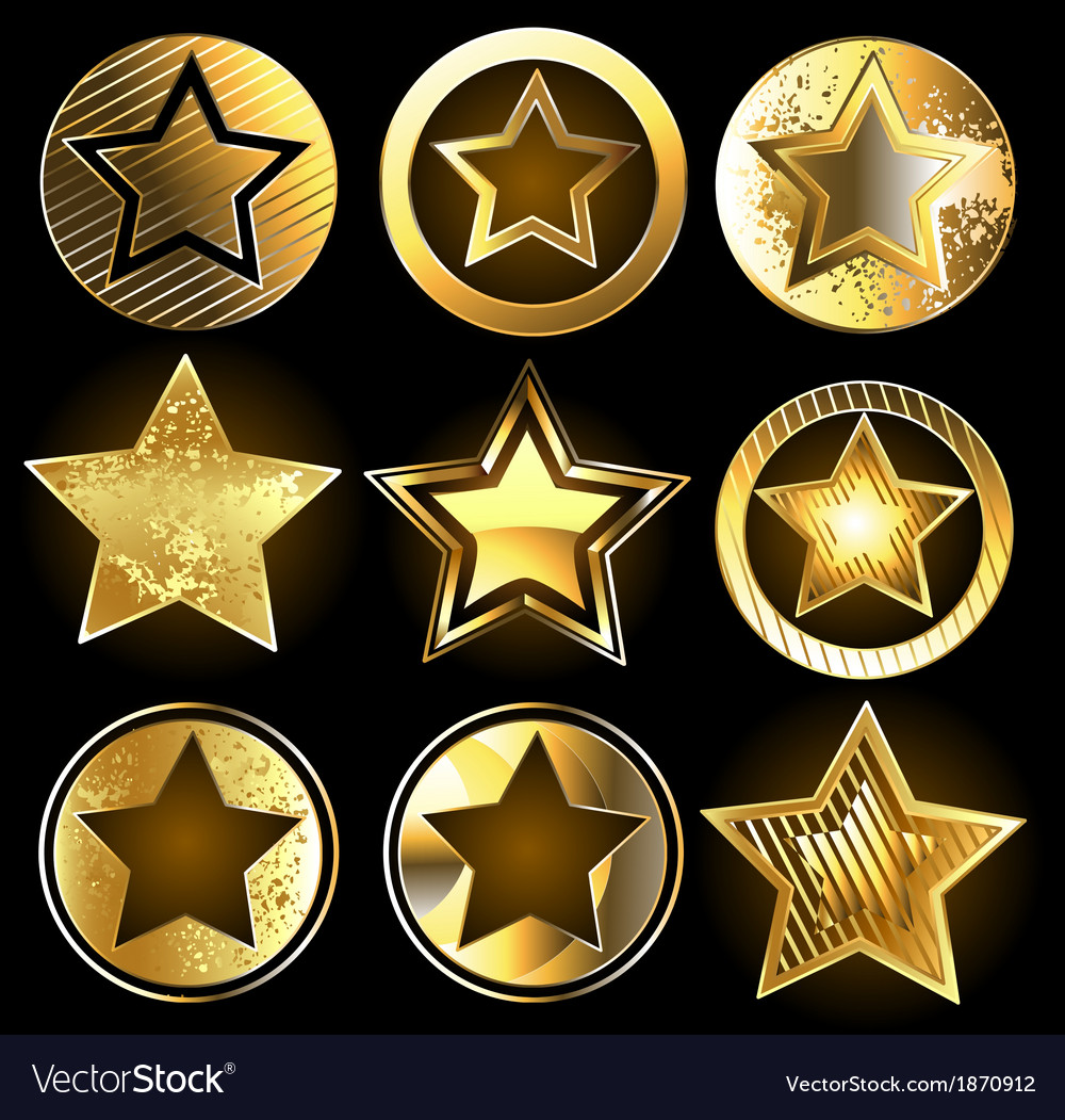 Set of military gold stars vector | Price: 1 Credit (USD $1)