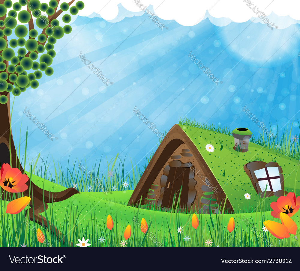 Sod roof house vector | Price: 1 Credit (USD $1)