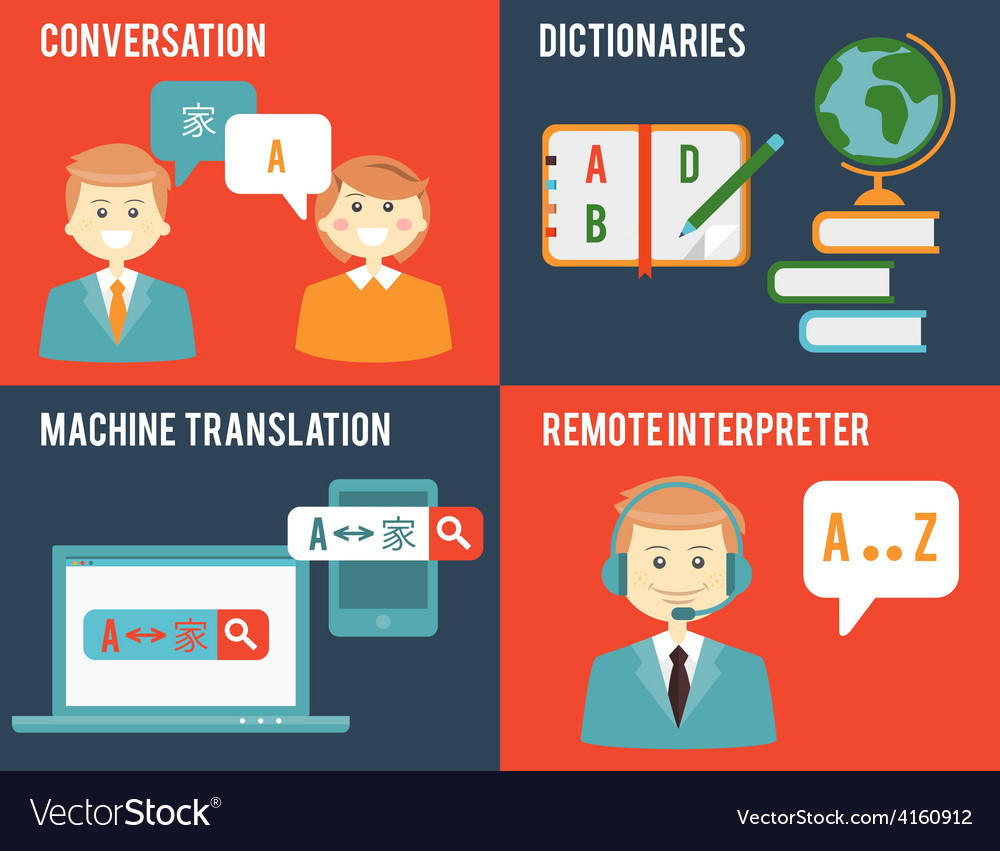 Translation and dictionary concepts in flat style vector | Price: 1 Credit (USD $1)