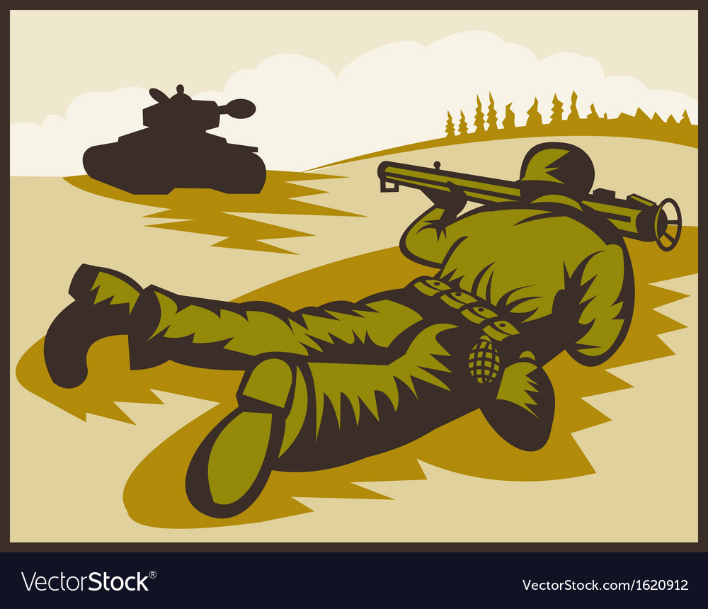 World two soldier aiming bazooka at battle tank vector | Price: 1 Credit (USD $1)
