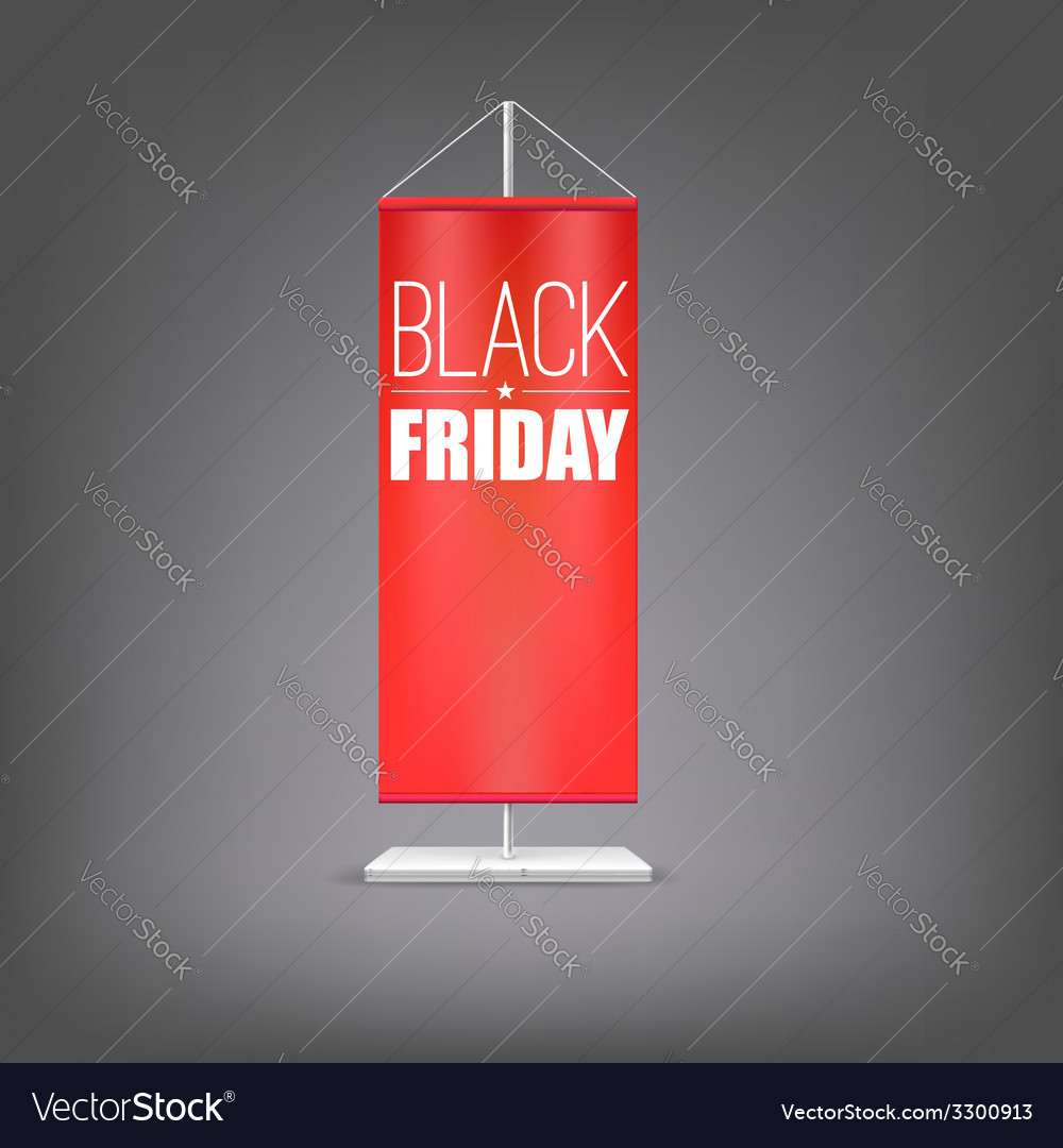 Black friday vertical red flag at the pillar vector | Price: 1 Credit (USD $1)