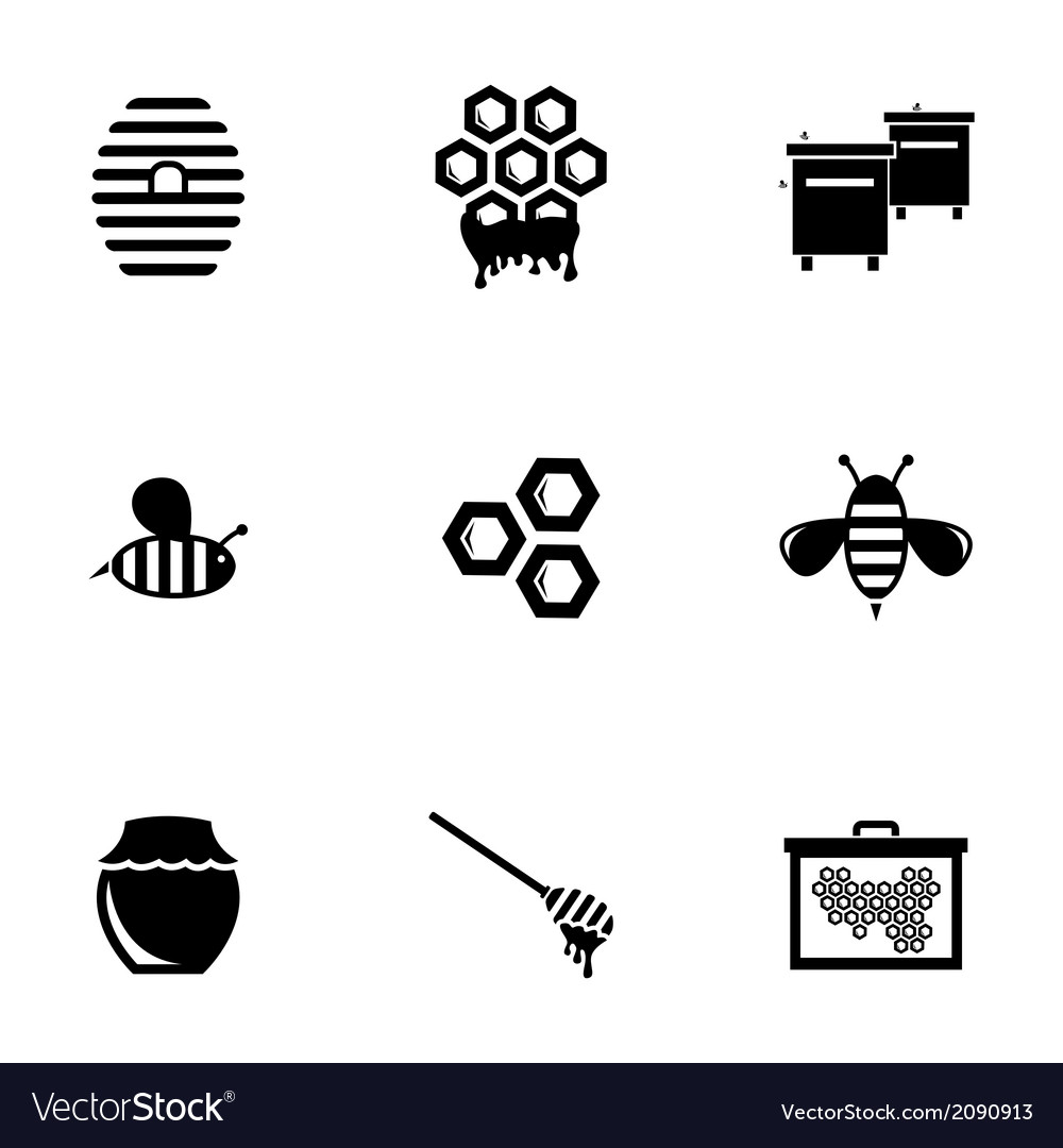 Black honey icons set vector | Price: 1 Credit (USD $1)