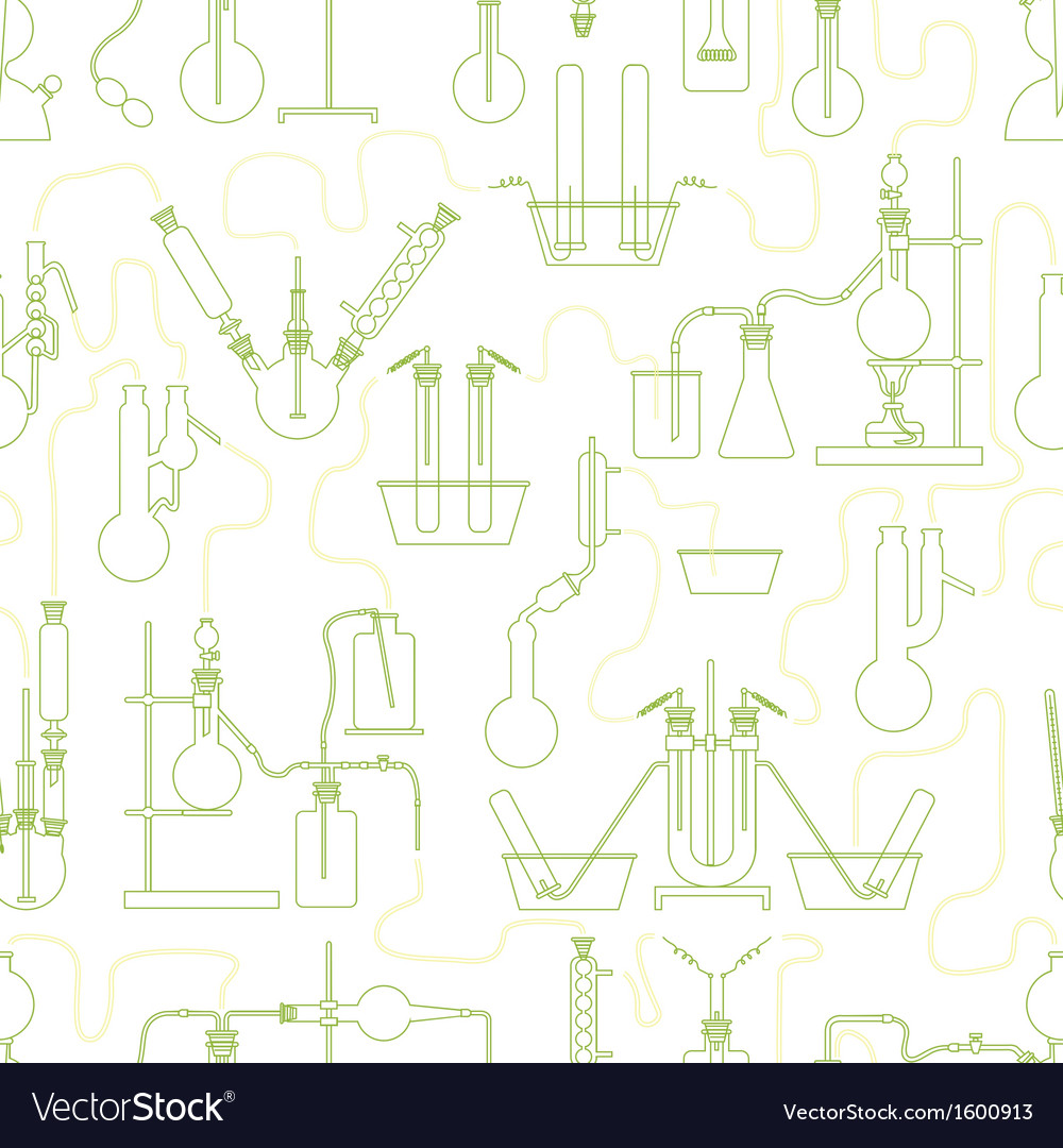 Chemistry seamless texture green vector