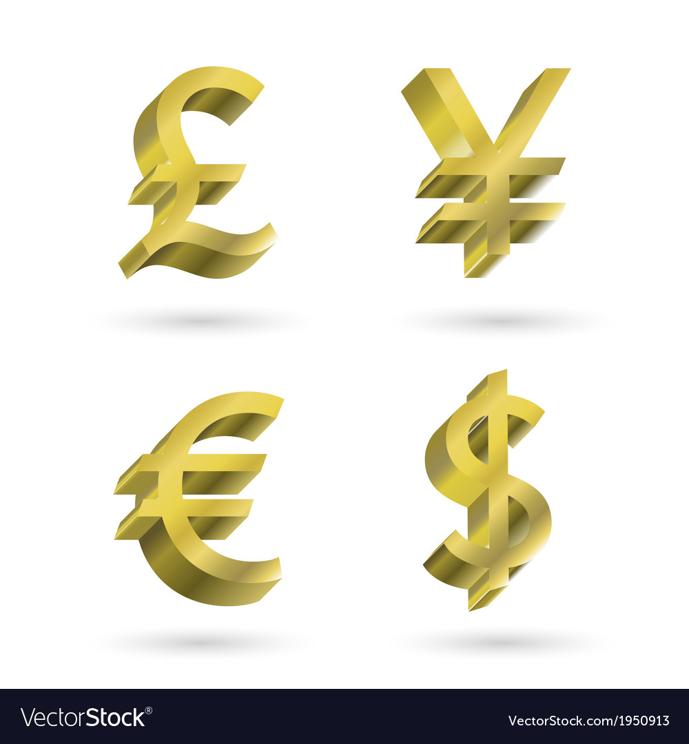 Currency gold symbols vector | Price: 1 Credit (USD $1)